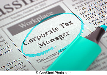 We're Hiring Corporate Tax Manager. 3D.