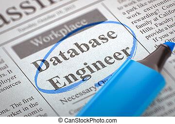 We're Hiring Database Engineer. 3D.