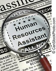 We're Hiring Human Resources Assistant. 3D.