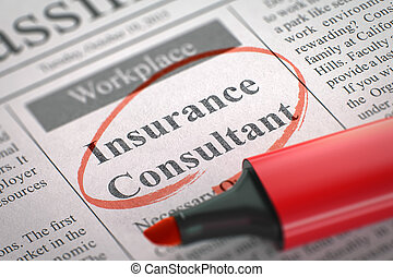 We're Hiring Insurance Consultant. 3D.