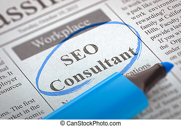 We're Hiring SEO Consultant. 3D. - Newspaper with Small Ads...