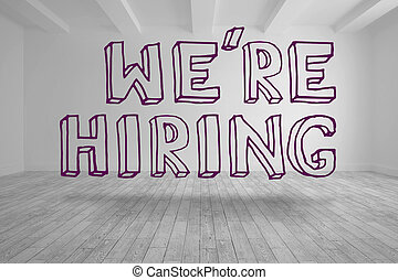 Were hiring written in bright room in purple letters
