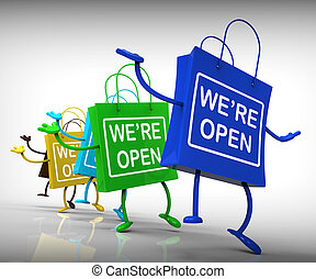 We're Open Bags Show Shopping Availability and Grand Opening...