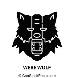 were wolf icon, black vector sign with editable strokes, concept illustration