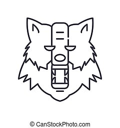 Were wolf icon, linear isolated illustration, thin line vector, web design sign, outline concept symbol with editable stroke on white background.