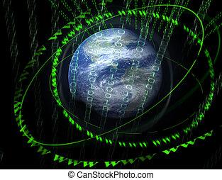 wereld, 3d, digitale