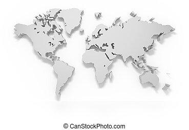 wereld, 3d, kaart