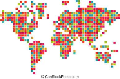 wereld, abstract, technologie, kleurrijke, kaart