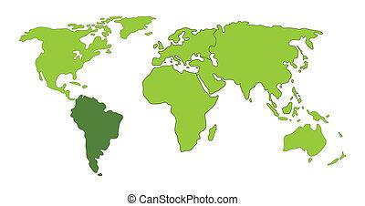 wereld, amerika, zuiden, kaart