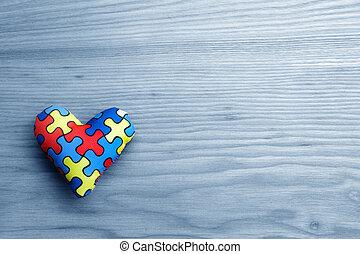 wereld, autisme, bewustzijn, dag, geestelijke gezondheid, care, concept, met, raadsel, of, jigsaw, model, op, hart
