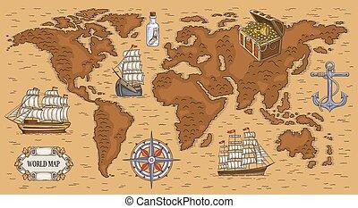 wereld, begraven, oud, schepen, schatkaart, zee, spotprent, goud