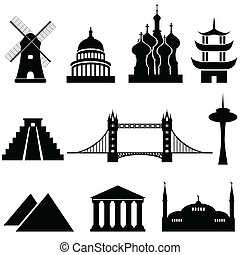 wereld, bekende & bijzondere plaatsen, en, monumenten