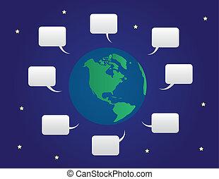 wereld, bellen, toespraak