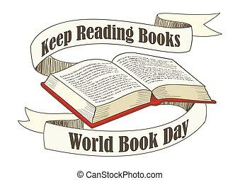 wereld, boek, en, auteursrecht, dag