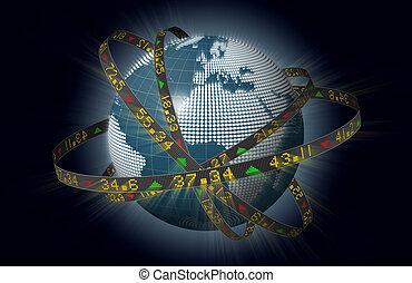 wereld brengt op de markten, met, aandelen