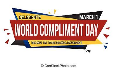 wereld, compliment, dag, ontwerp, spandoek