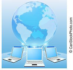 wereld, concept, computer net