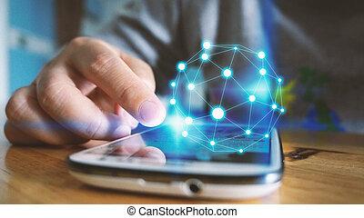 wereld, concept., connected.social, netwerk