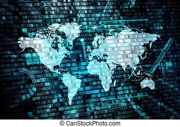 wereld, concept, gegevensverwerking