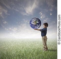 wereld, concept, sparen