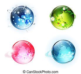 wereld, conceptueel, bollen, glanzend
