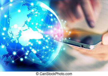 wereld, connected., sociaal, netwerk, concept
