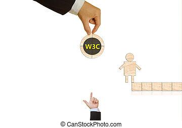 wereld, consortium, breed, web
