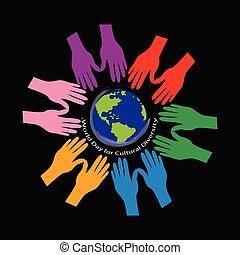 wereld, cultureel, diversity., dag