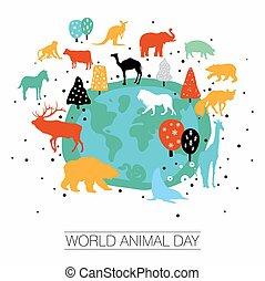 wereld, dag, dier