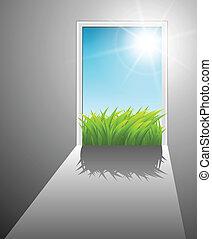 wereld, deur, nieuw