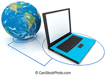 wereld, draagbare computer, samenhangend