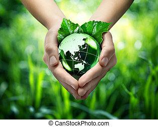 wereld, ecologisch, concept, -, beschermen