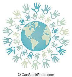 wereld, eenheid, vrede, design.