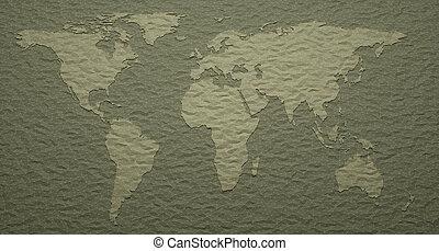 wereld, embossed, details, kaart