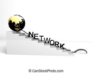 wereld, en, netwerk, op, voortgang