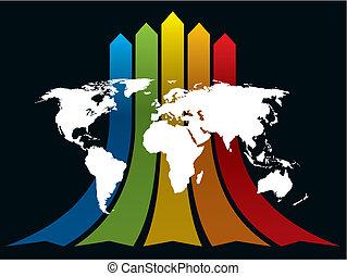 wereld, en, regenboog