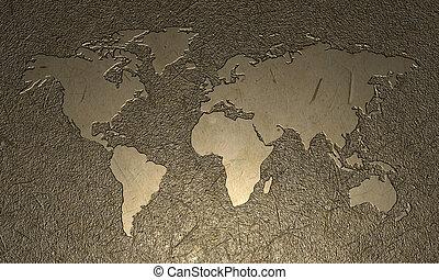 wereld, gegraveerde, kaart