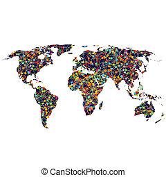 wereld, gekleurde, netwerk, kaart
