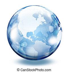 wereld, glas, bol