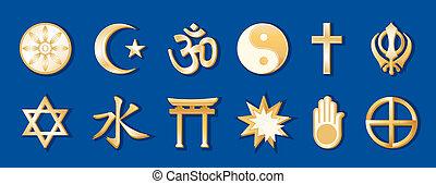 wereld godsdiensten, blauwe achtergrond