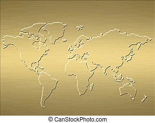 wereld, goud, kaart