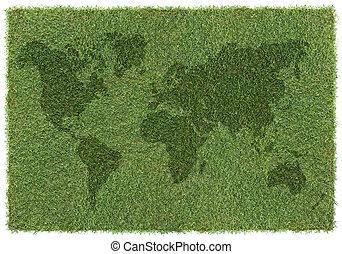 wereld, gras, kaart
