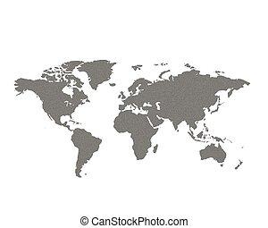 wereld, grijze , kaart