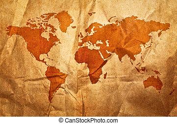 wereld, grunge, sepia, kaart