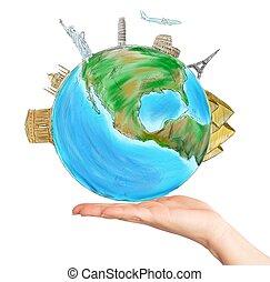 wereld, hand, een