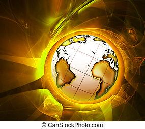 wereld, het glanzen