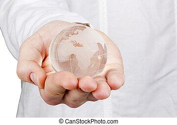 wereld, in, een, hand