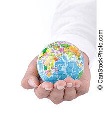 wereld, in, hand, concept
