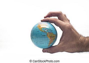 wereld, in, hand, vrijstaand