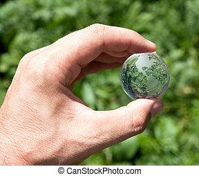 wereld, in, overhandigen, groene